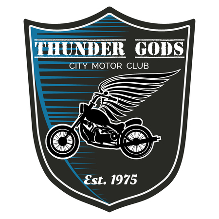 shield wings: motorcycle club label - Thunder Gods