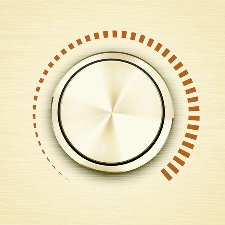 decibels: Round gold metallic volume knob Illustration