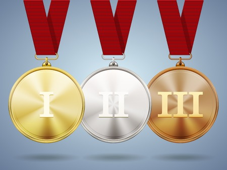 challenge: Gold  silver and bronze medals on ribbons