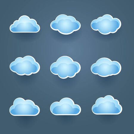 on cloud nine: Set of blue vector cloud icons