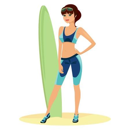 beach babe: Bellissima spiaggia ragazza con una tavola da surf