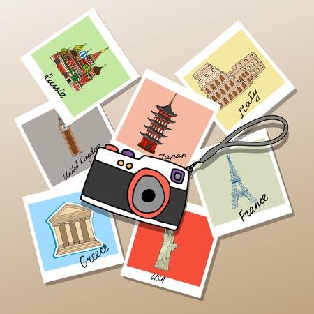 photographs: Camera with photographs of global landmarks Illustration