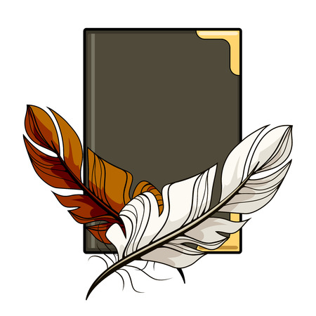 feather quill: Brown and white feathers on a book