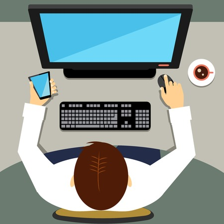 mobile operators: Man working on desktop computer with blank screen Illustration