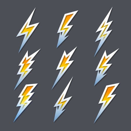 Set of zigzag lightning bolts or electricity icons