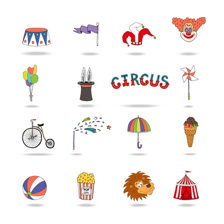 big top: Set of colorful vector circus icons Illustration