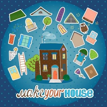 roof tile: Make Your House - night version Illustration