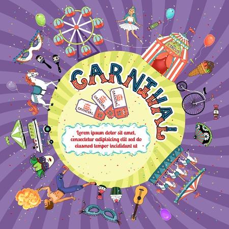 rattles: Vector carnival invitation design