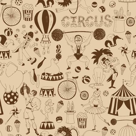 circus elephant: Retro seamless circus background pattern