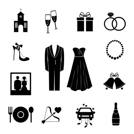Set of black silhouette wedding icons Vectores