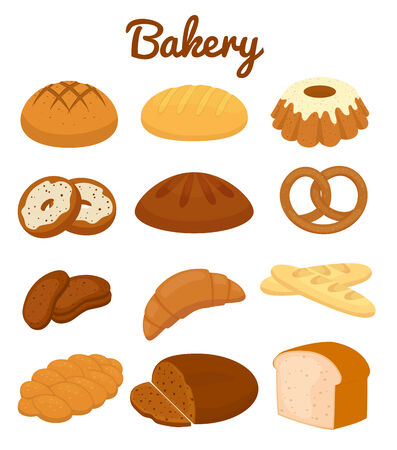 bread rolls: Set of colorful bakery icons