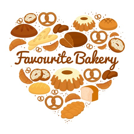 bread rolls: Heart shaped cakes  sweets and bread badge Illustration