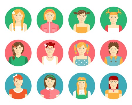 schoolchildren: Vector set of girls and young women avatars