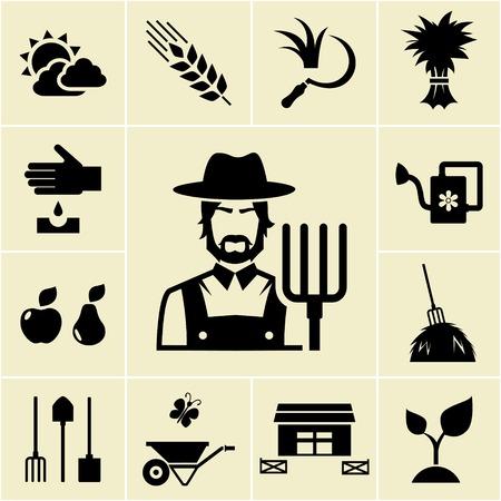 surrounded: Farmer circondato da allevamento icone a tema Vettoriali