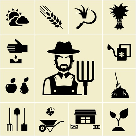 implements: Farmer surrounded by farming themed icons