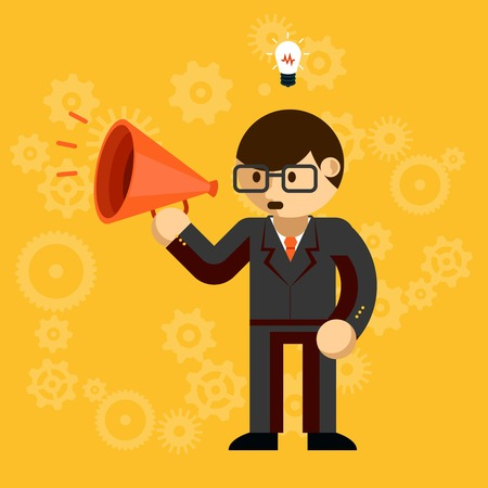 verbal communication: Businessman with a megaphone