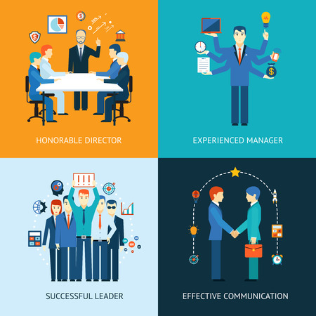 teamleider: Business team leider banners Stock Illustratie