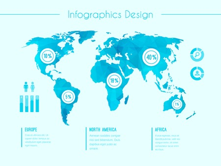 statistical: World map infographic template