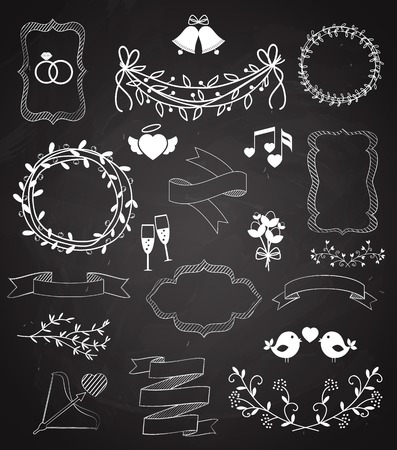 wreaths: Wedding chalkboard Banners and Ribbons set