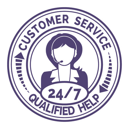 kunden service: Runde Symbol f�r Non-Stop-Kundendienst auf wei�em