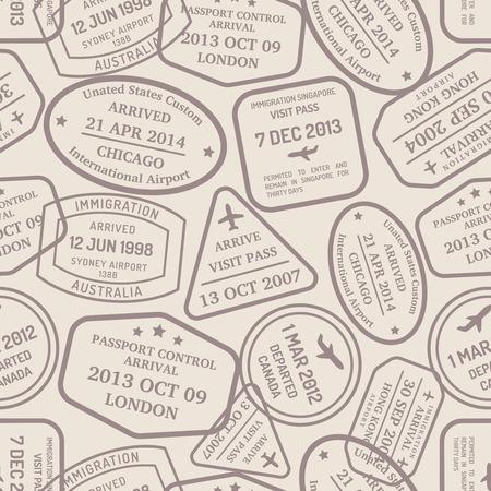 estampilla: Los sellos y los sellos de mano de control de pasaportes