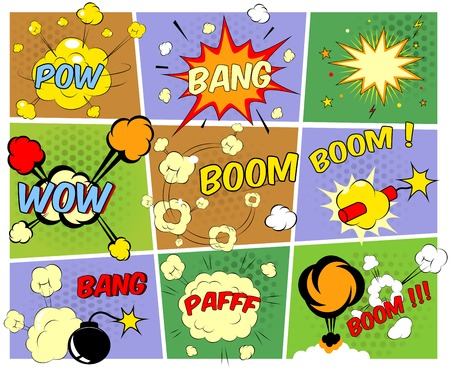incendiary: Mock-ups of comic book speech bubbles Illustration