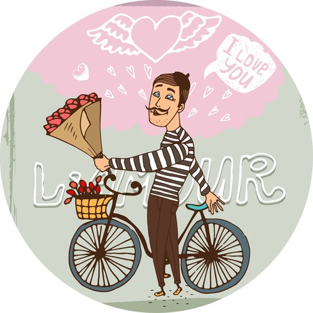 seducer: Amorous Frenchman on a bicycle with red roses