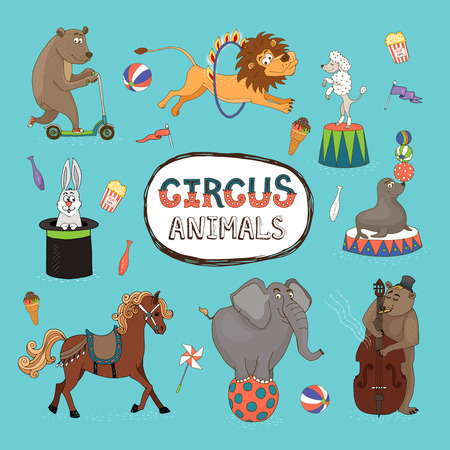animaux cirque: Vector set d'animaux color�s de cirque