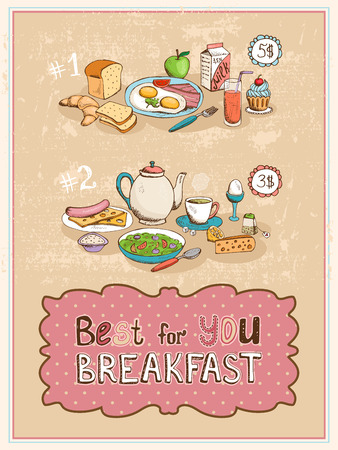 Best For You Breakfast vintage poster design Vector