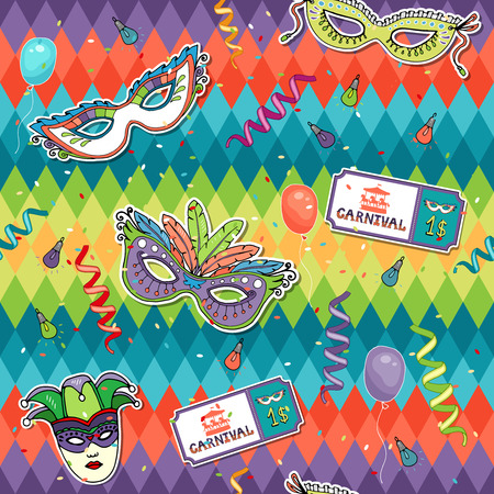 paper mask: Colorful geometric Carnival background Illustration
