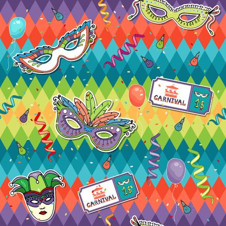 paper mask: Colorful geometric Carnival background Illustration