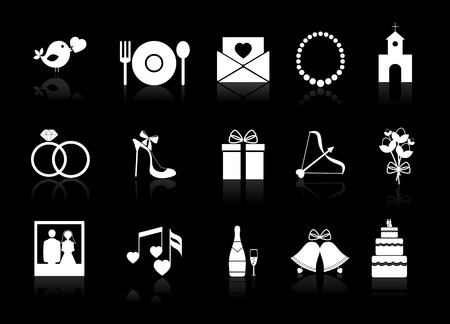 reception: Vector wedding icons on a black background