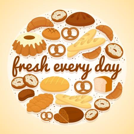 Fresh Every Day bakery label Illustration
