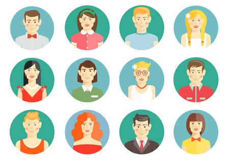 Set of diverse people avatar icons Illustration