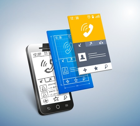 touch screen interface: mobile development Illustration