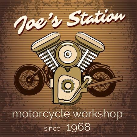 motorcycle repair shop: Vector motorcycle repair shop poster