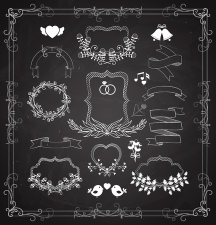 wreaths: Wedding graphic set with wreaths and ribbons Illustration