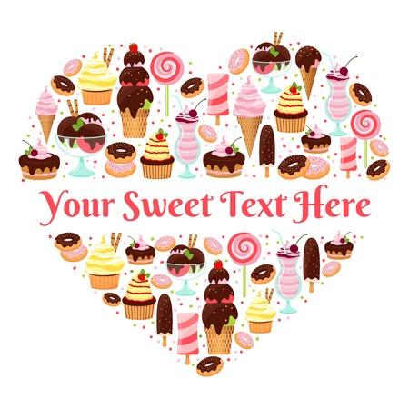I Love Sweets heart shaped vector design Vector