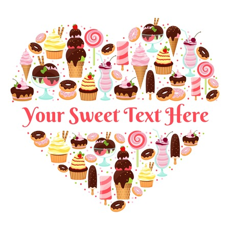 I Love Sweets heart shaped vector design