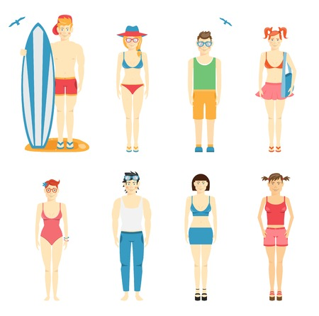 and barefoot: Icons of kids in summer clothing and swimsuits