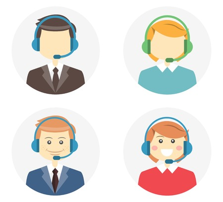 Call center operator icons Vector