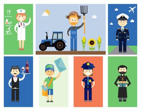 femme policier: Définir des hommes et des femmes de caractères professionnels Illustration