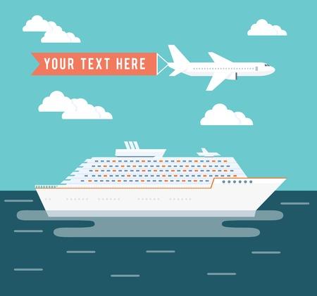 cruise: Cruise ship and plane travel poster design Illustration
