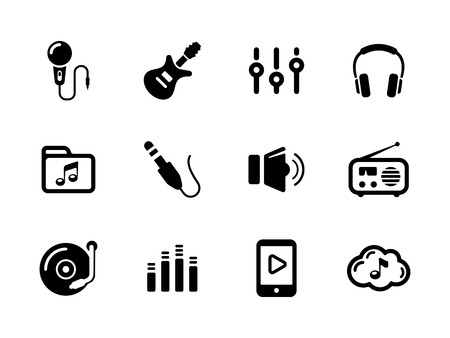 sliders: Set of sound and music black icons  on white
