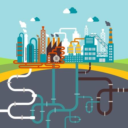 ingeniería: fábrica o planta de fabricación de refinería Vectores