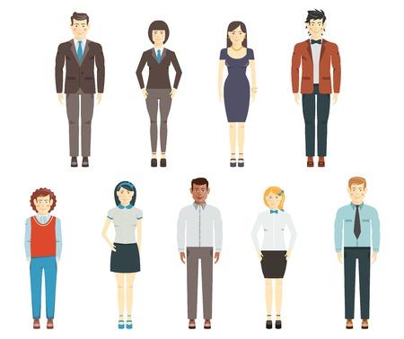 Set van jonge mannen en vrouwen dragen kantoor kleren