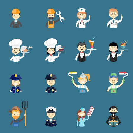 hospitality industry: Large set of funny professional people avatars