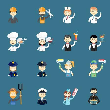 painter decorator: Large set of funny professional people avatars
