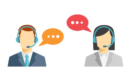 e work: Male and female call center avatar icons