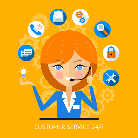 telemarketer: Customer service icon of a call center girl